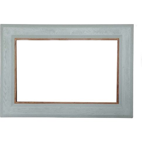 Amias Wooden Frame Wall Mirror In Sky Grey Finish