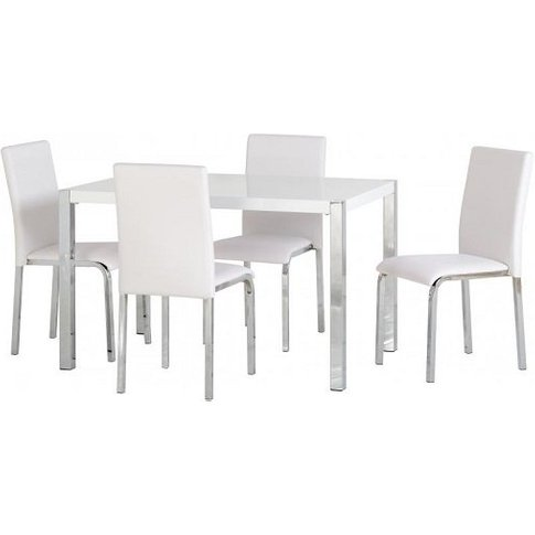 Andi Wooden Dining Table In White Gloss With Four Di...