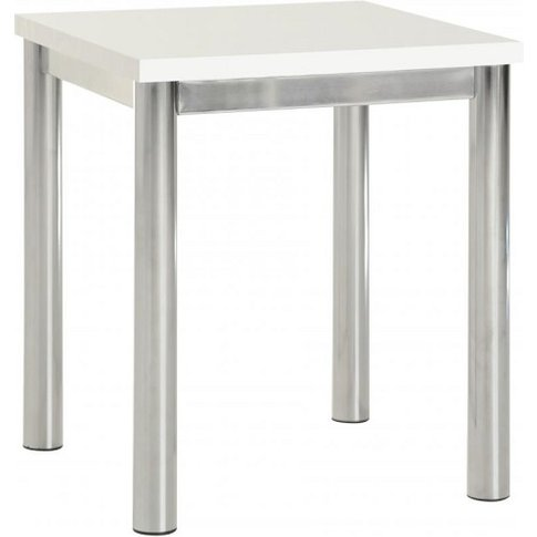 Andi Lamp Table In White Gloss With Chrome Legs