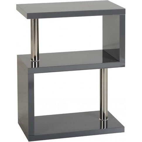 Andi Wooden Three Tier Shelving Unit In Grey Gloss