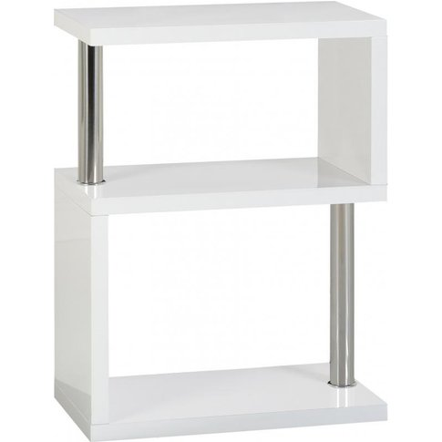 Andi Wooden Three Tier Shelving Unit In White Gloss