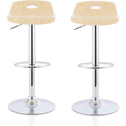 Andover Bar Stools In Oak Veneer With Chrome Base In...