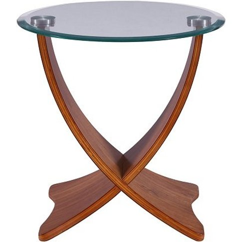 Anfossi Glass Lamp Table Round In Clear With Walnut ...