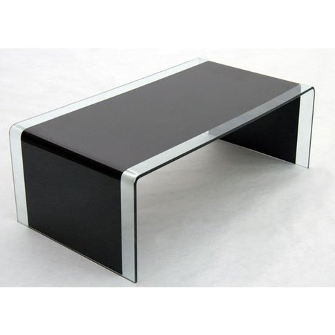 Angola Black And Clear Bent Glass Coffee Table