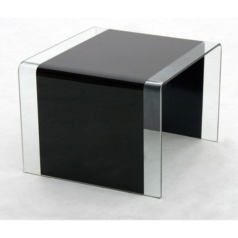 Angola Bent Glass Side Table In Black And Clear Glass