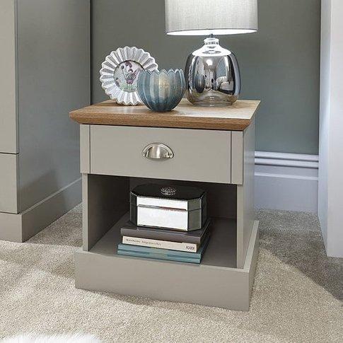 Ervin Bedside Table In Soft Grey With Oak Effect Top
