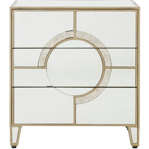 Antibes Mirrored Glass Bedside Cabinet With 3 Drawers