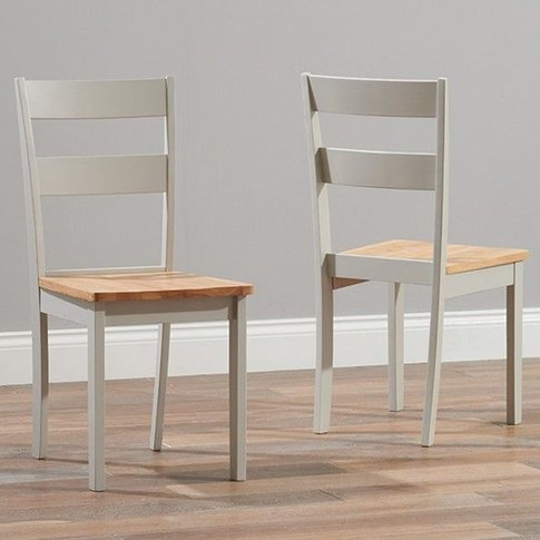 Ankila Oak And Grey Wooden Dining Chairs In Pair