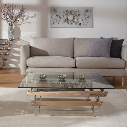 Aqua Glass Coffee Table Square And Polished Stainles...