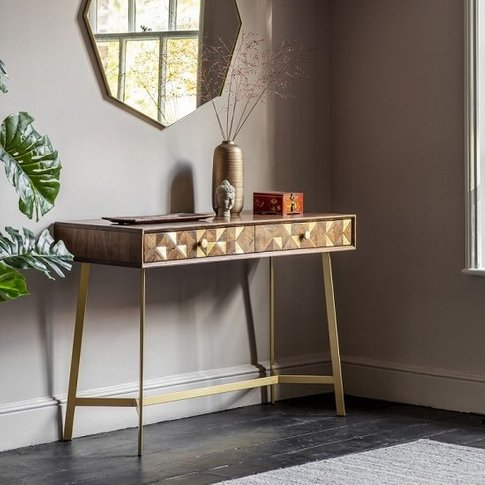 Arcana Console Table In Acacia Wood And Brass With 2 Drawers