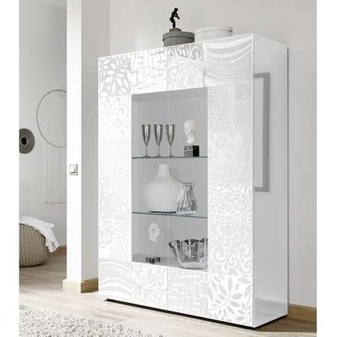 Ardent Modern Display Cabinet In White High Gloss Wi...