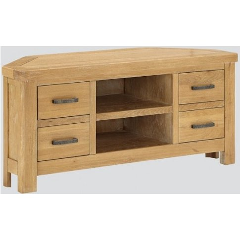 Areli Wooden Corner Tv Stand In Washed Oak Finish