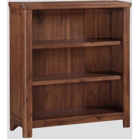 Areli Wooden Low Bookcase In Dark Acacia Finish