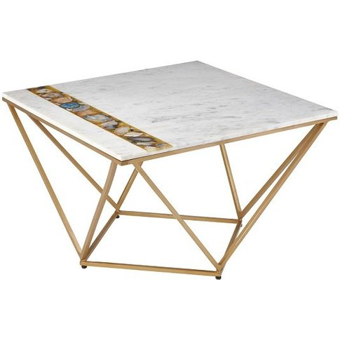 Arenza Marble Coffee Table Square In White With Meta...
