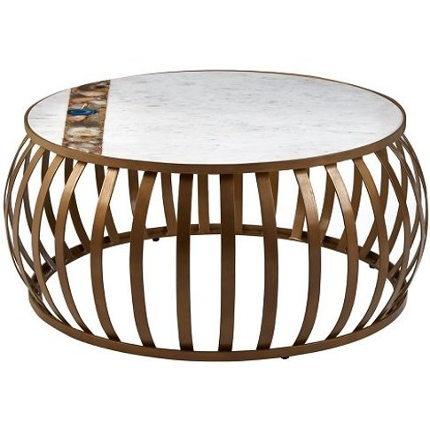 Arenza Marble Coffee Table Round In White With Metal...