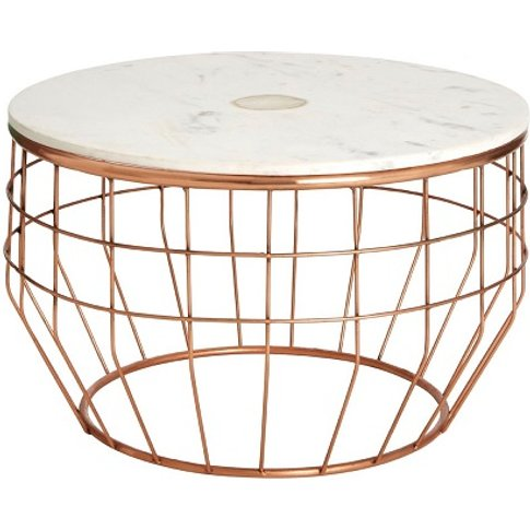 Arenza Marble Coffee Table Round In White And Copper...
