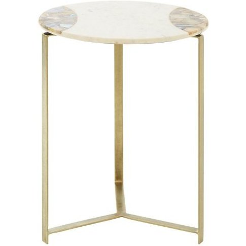Arenza Marble Side Table In White With Brass Finish ...