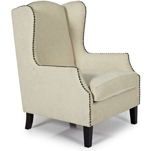 Argyle Fabric Lounge Chair In Cream With Wooden Legs