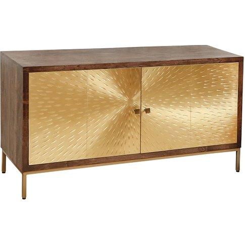 Arielle Sideboard In Dark Wood With 2 Gold Metal Doors