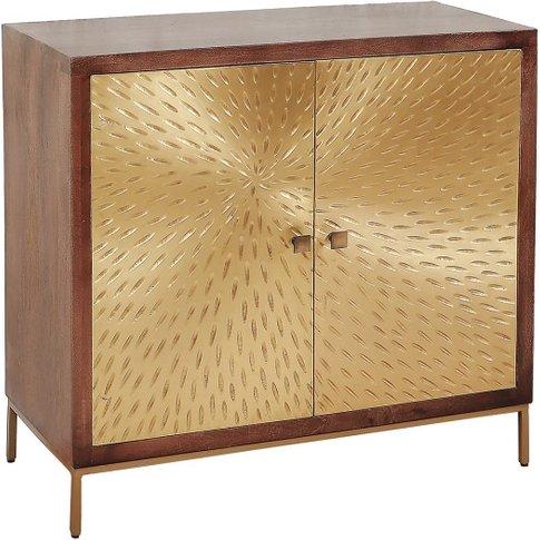Arielle Storage Cabinet In Dark Wood With 2 Gold Met...