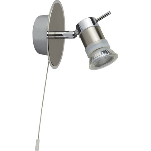 Aries Led Ip44 Wall Spotlight In Chrome And Satin Si...