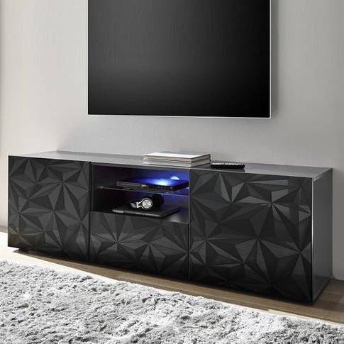 Arlon Tv Stand Wide In Grey High Gloss With 2 Doors ...
