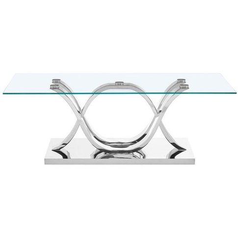 Armando Glass Coffee Table With Curved Stainless Ste...