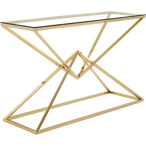 Armenia Glass Console Table With Champagne Gold Stee...