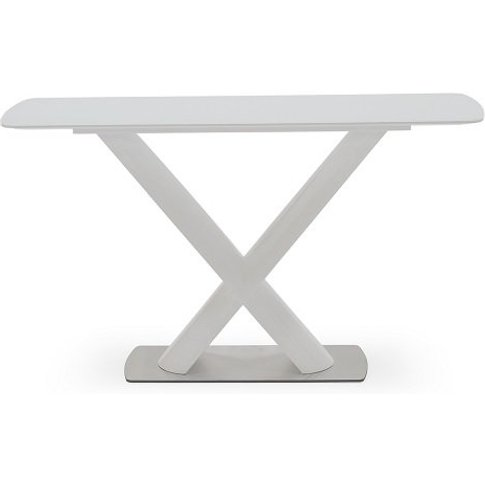 Armida Glass Top Console Table In White With High Pe...