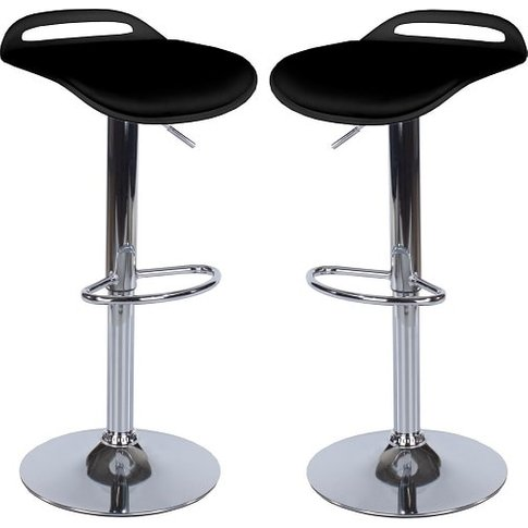 Arturo Padded Bar Stools In Black With Chrome Base I...