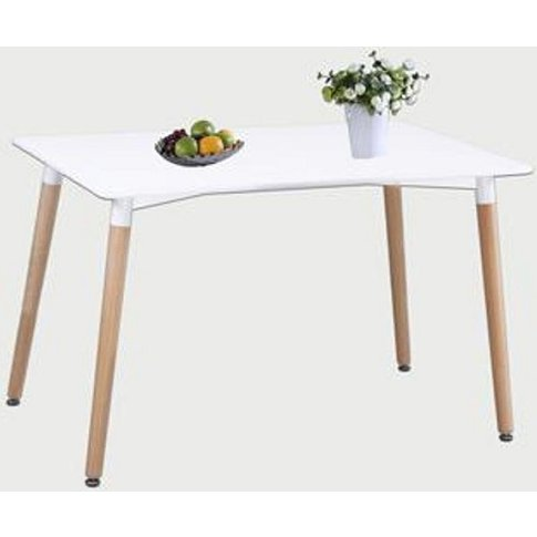 Arturo Small Dining Table In White With Beech Finish...