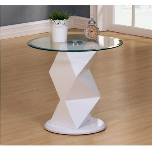 Aruba Glass Lamp Table In Clear With White High Glos...