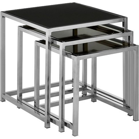 Aruan Black Glass Nest Of Tables With Stainless Stee...