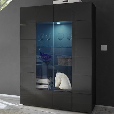 Aspen Modern Display Cabinet In Grey High Gloss With...