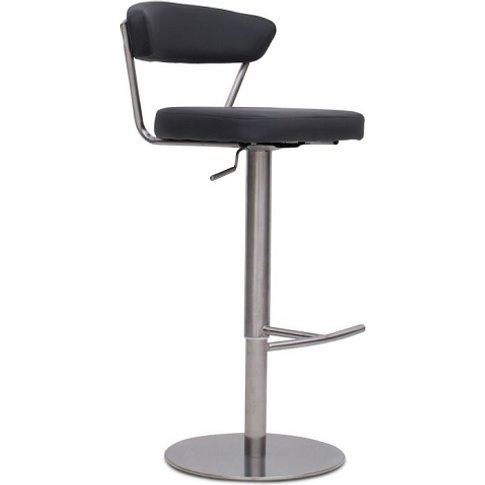 Astley Bar Stool In Grey PU With Brushed Stainless S...