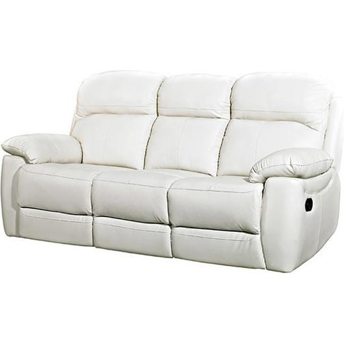 Aston Leather 3 Seater Recliner Sofa In Ivory