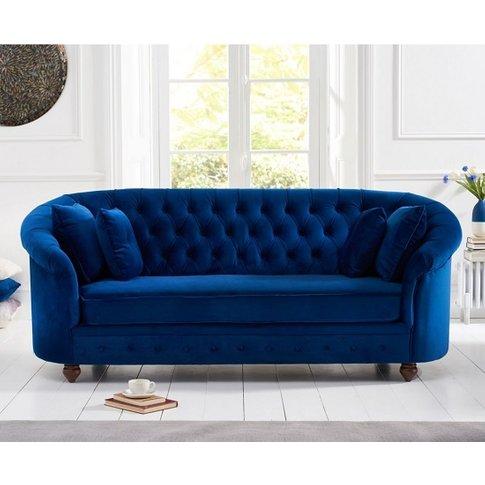 Astoria Chesterfield 3 Seater Sofa In Blue Plush Fabric