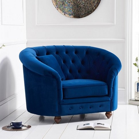 Astoria Sofa Chair In Blue Plush Fabric With Wooden ...