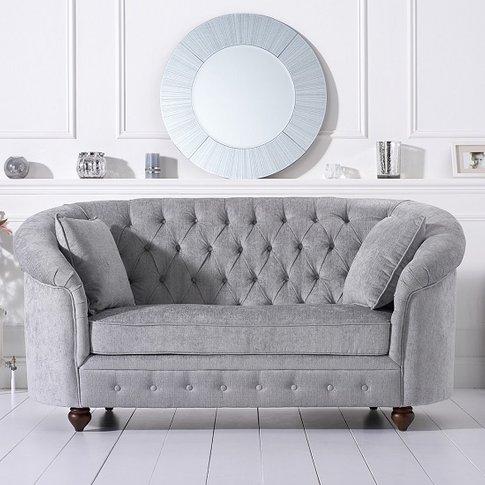 Astoria Chesterfield 2 Seater Sofa In Grey Plush Fabric