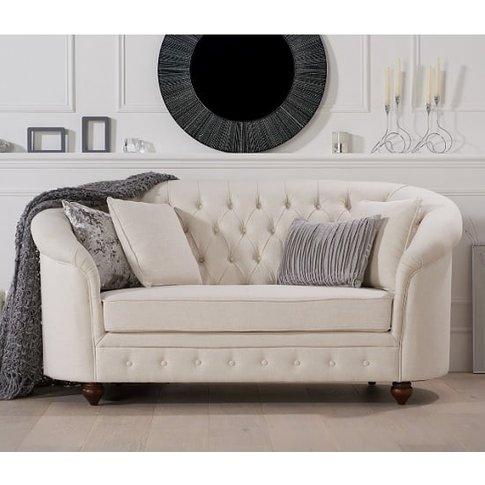 Astarik Chesterfield 2 Seater Sofa In Ivory Fabric
