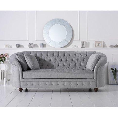 Astoria Chesterfield 3 Seater Sofa In Grey Plush Fabric