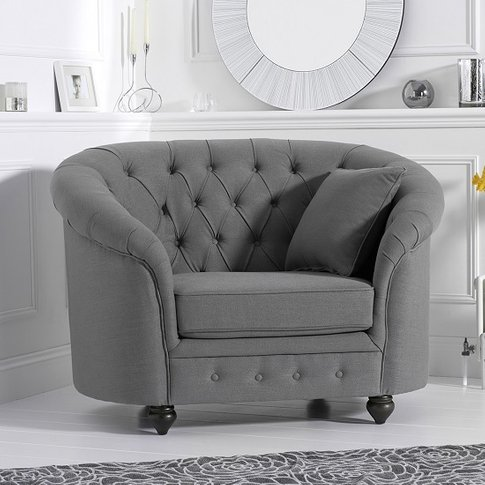 Astoria Sofa Chair In Grey Linen Fabric With Wooden ...
