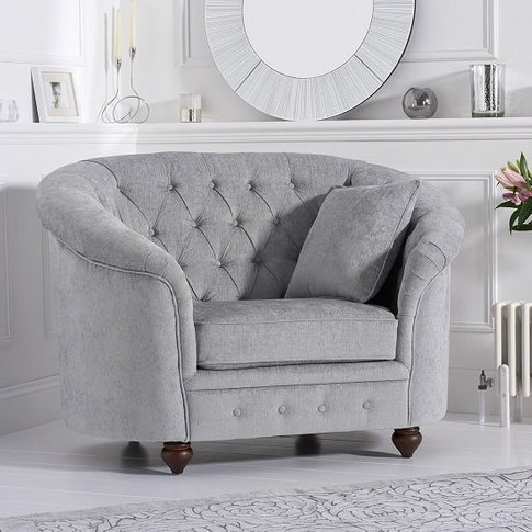 Astoria Chesterfield Sofa Chair In Grey Plush Fabric