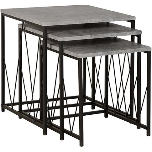 Athens Nest Of Tables In Concrete Effect And Black