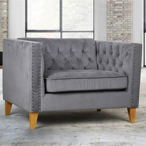 Atherton Fabric Sofa Chair In Grey Velvet With Woode...