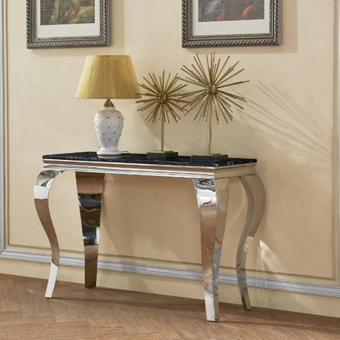 Aubert Marble Effect Console Table In Black And Stai...