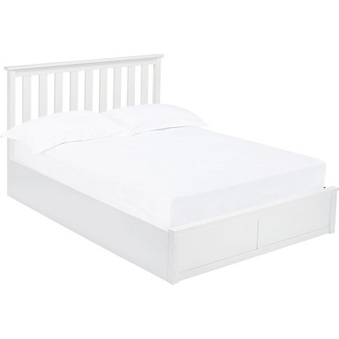 Augusto Wooden King Size Ottoman Bed In White