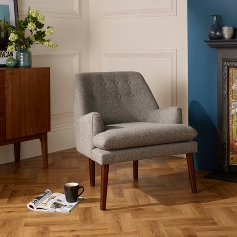 Austen Fabric Lounge Chair In Grey With Wooden Legs