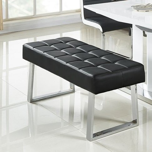 Austin Dining Bench In Black Faux Leather With Chrom...