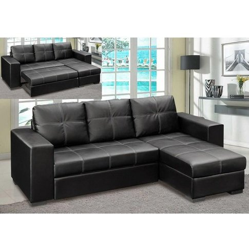Avalon Corner Sofa Bed In Black Faux Leather With St...